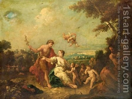 A Bacchanal Scene In A Pastoral Landscape by (after) Antonio Diziani - Reproduction Oil Painting
