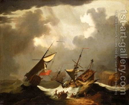 English Ships In Distress Off A Rocky Coast by (after) Willem Van De, The Younger Velde - Reproduction Oil Painting