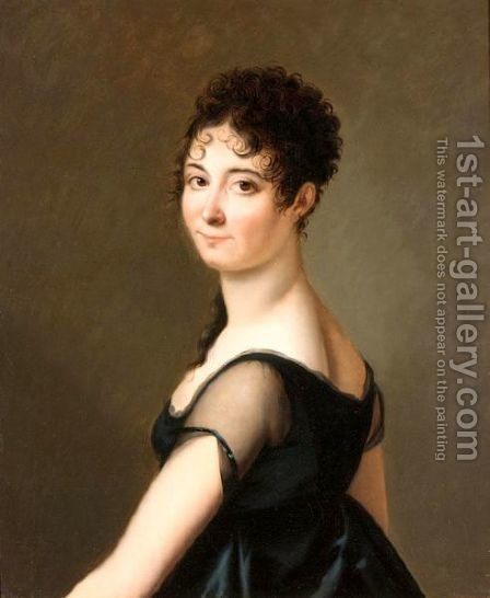 Portrait Of A Lady, Half Length, Wearing A Black Silk Dress by (after) Jeanne Elisabeth Chaudet - Reproduction Oil Painting