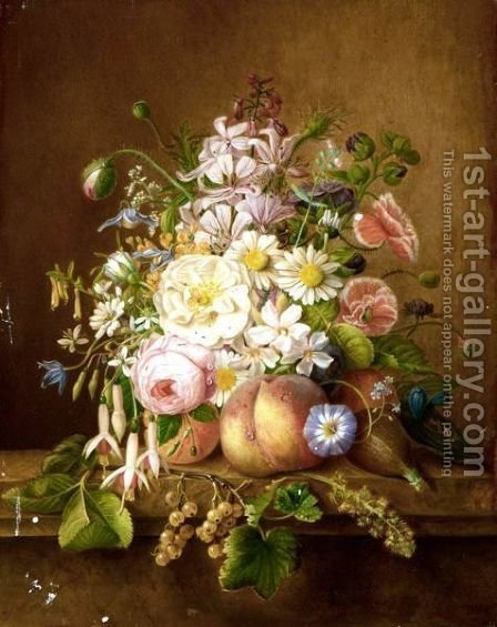 Still Life With Roses, Poppies, Daisies, And Various Other Flowers In A Bouquet by A. De Steenhault - Reproduction Oil Painting
