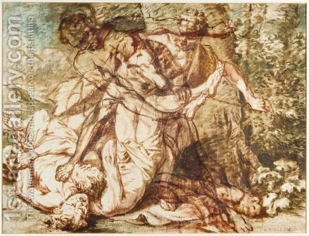 Hercules Wrestling Antaeus by (after) Giovanni Benedetto Castiglione - Reproduction Oil Painting