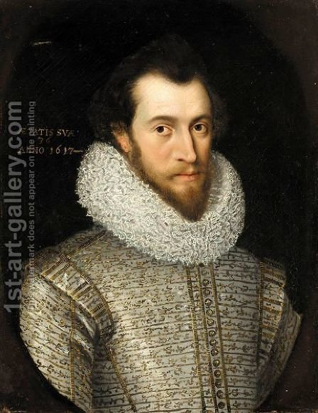 Portrait Of A Nobleman, Said To Be Robert, Earl Of Essex by (after) William Larkin - Reproduction Oil Painting