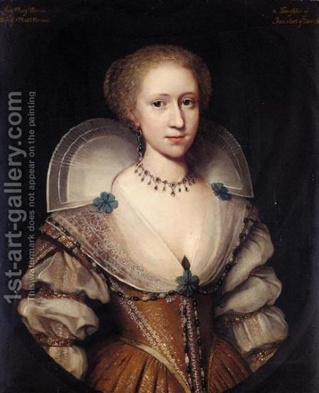 Portrait Of Lady Margaret Mennes by (after) Johnson, Cornelius I - Reproduction Oil Painting