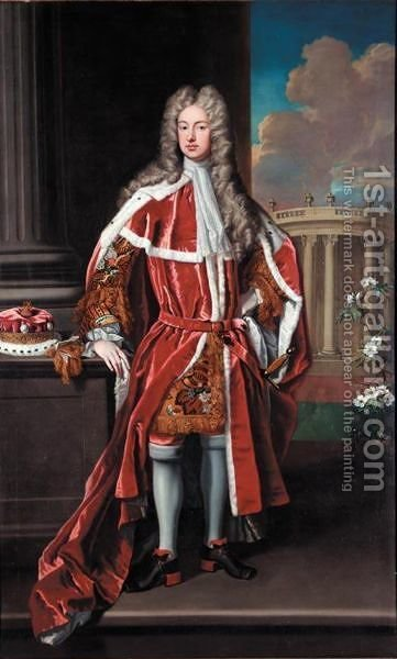 Portrait Of Allen Bathurst. 1st Earl  Bathurst (1684-1775) by (after) Kneller, Sir Godfrey - Reproduction Oil Painting
