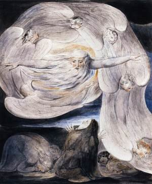 Reproduction oil paintings - William Blake - Job Confessing His Presumption To God Who Answers From The Whirlwind 1803-05