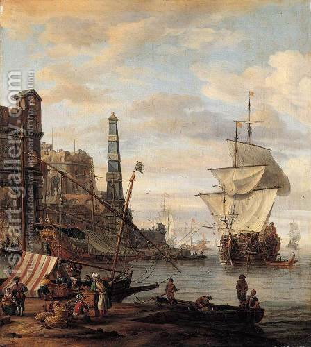 Mediterranean Harbour Scene by Abraham Storck - Reproduction Oil Painting