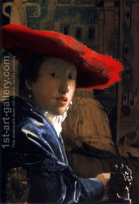 Jan Vermeer Van Delft: Girl With A Red Hat - reproduction oil painting