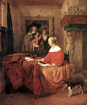 Famous paintings of Dogs: A Woman Seated at a Table and a Man Tuning a Violin
