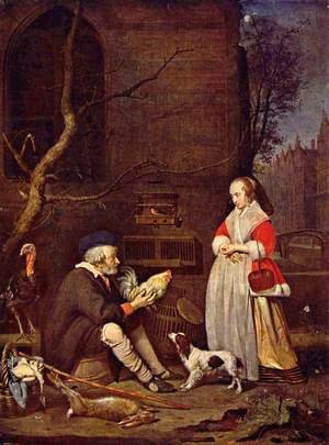 Famous paintings of Dogs: Poultry Seller