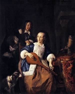 Famous paintings of Dogs: The Cittern Player 1660