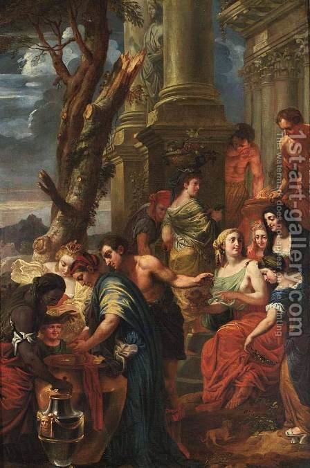 Thetis Dips Achilles In A Vase With Water From The Styx by Jan-Erasmus Quellinus - Reproduction Oil Painting
