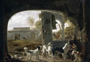 Famous paintings of Dogs: Huntsman Feeding His Dogs c. 1652