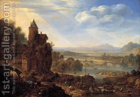 An Extensive Rhenish River Landscape 1664 by Herman Saftleven - Reproduction Oil Painting