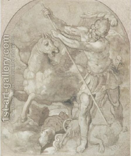 Bellerophon Slaying Chimera by (after) Giuseppe Della Porta Salviati - Reproduction Oil Painting