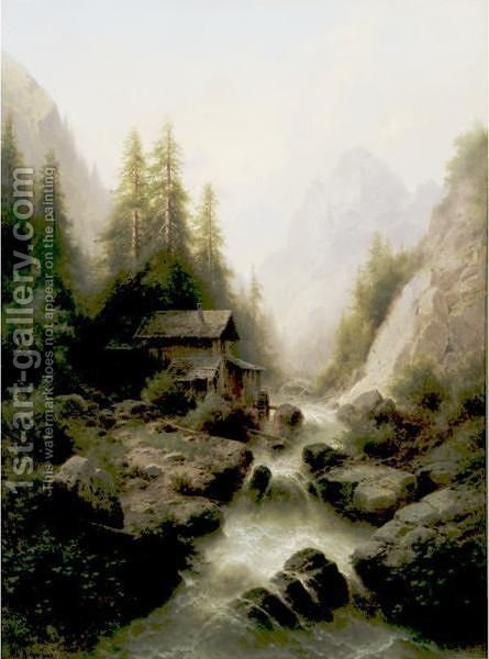 Old Watermill By The Waterfall by Albert Rieger - Reproduction Oil Painting