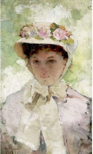 Reproduction oil paintings - William Lippincott - The Flowered Hat