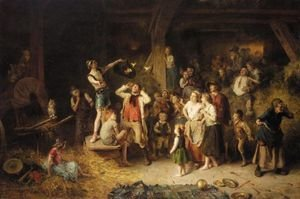 Reproduction oil paintings - Ludwig Knaus - Der Taschenspieler In Der Scheune (The Conjuror In The Barn)