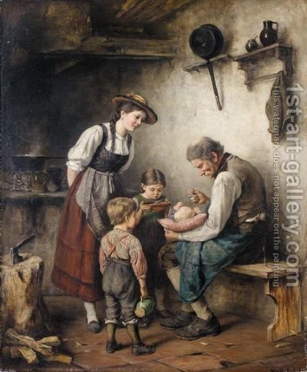 Essenszeit (Feeding Time) by Albert Muller-Lingke - Reproduction Oil Painting