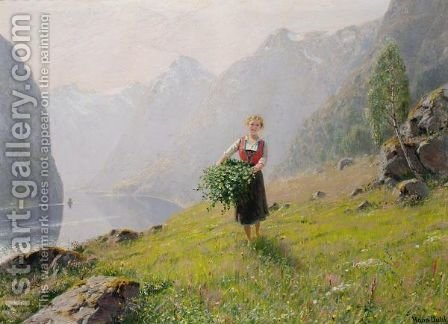 Grensanking Ved Fjorden (Gathering Leaves By A Fjord) by Hans Dahl - Reproduction Oil Painting