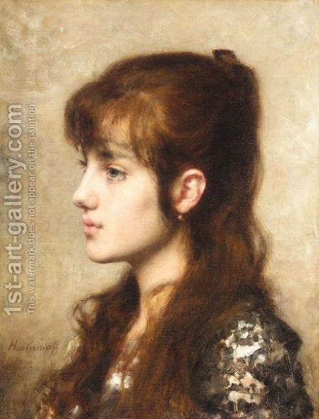 A Young Girl 4 by Alexei Alexeivich Harlamoff - Reproduction Oil Painting