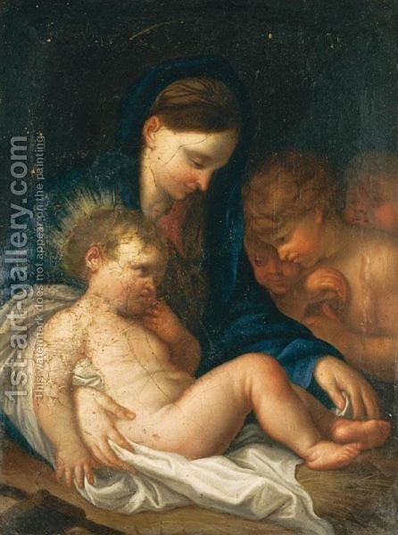 Madonna Col Bambino E Angeli by (after) Giambettino Cignaroli - Reproduction Oil Painting