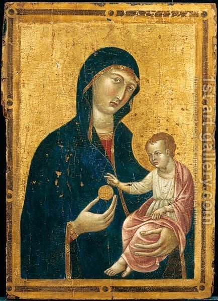 Madonna Col Bambino by (after) Duccio Di Buoninsegna - Reproduction Oil Painting