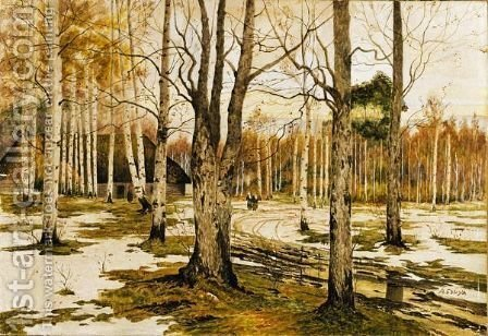 Forest In Early Winter by Albert Nikolaevich Benois - Reproduction Oil Painting