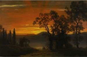 Reproduction oil paintings - Albert Bierstadt - Sunset Over The River 2