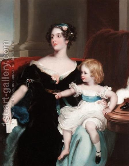 Portrait Of Harriet, Countess Gower (1806-68) And Her Daughter, Elizabeth Georgiana, Later Duchess Of Argyll (1824-78) by (after) Lawrence, Sir Thomas - Reproduction Oil Painting