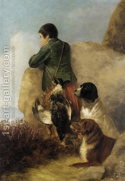 Boy With Game And Dogs by (after) Richard Ansdell - Reproduction Oil Painting