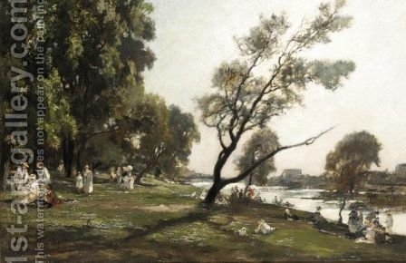 Summer Afternoon On The River by Alexandre Rene Veron - Reproduction Oil Painting