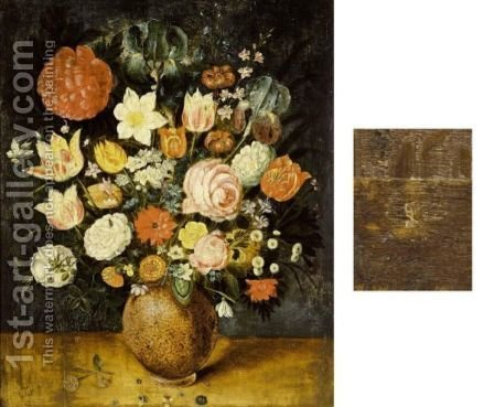A Still Life With Roses, Tulips, Irises, A Daffodil, A Poppy Anemone, Marigolds, Red Turban Cup Lilies, Borage, Violets, Forget-Me-Nots And Other Flowers, All In A Stone Vase On A Wooden Ledge by (after) Jan The Elder Brueghel - Reproduction Oil Painting