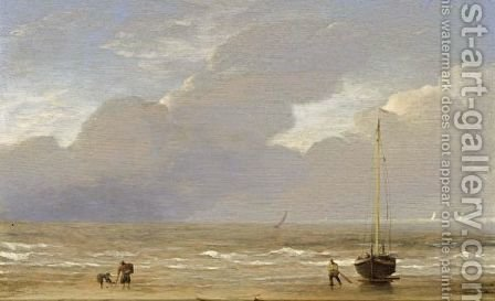 A Dutch Fishing Pink Hauled Up On The Shore On A Breezy Day by (after) Adriaen Van De Velde - Reproduction Oil Painting
