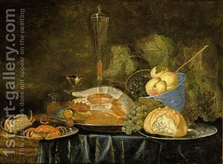 A Still Life With A Ham, A Bun, Crabs On Pewter Plates, Peaches In A Blue And White Bowl And Wine Glasses Together With Grapes, All On A Draped Table by (after) Jan Van Den Hecke - Reproduction Oil Painting