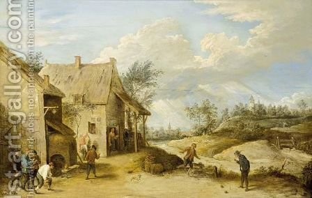 A Village Scene With Peasants Bowling Outside An Inn, A View Of A Church Beyond by (after)  David The Younger Teniers - Reproduction Oil Painting