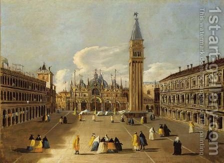 Venice A View Of The Piazza San Marco With Elegant Figures Dressed In Carnival Costumes by (after) (Giovanni Antonio Canal) Canaletto - Reproduction Oil Painting