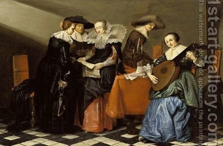 An Interior With A Lady Playing A Lute And Elegant Figures Singing Around A Table by (after) Pieter Codde - Reproduction Oil Painting