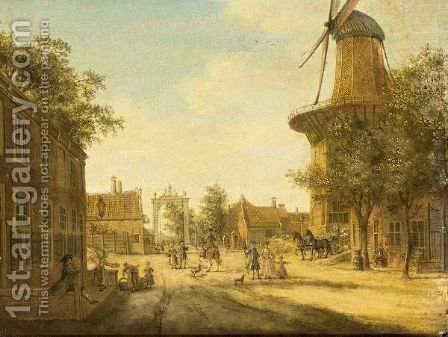 The Hague A View Of The Westeinde Towards The Loosduinsebrug, With The Heeremolen To The Right by Jacob Elias La Fargue - Reproduction Oil Painting