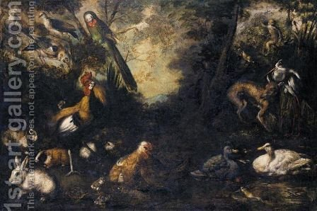 A Woodland Clearing With Ducks, A Fox, Rabbits, A Tortoise, Monkeys, A Parrot, Heron, Jay And Other Birds by (after) Andrea Scacciati - Reproduction Oil Painting