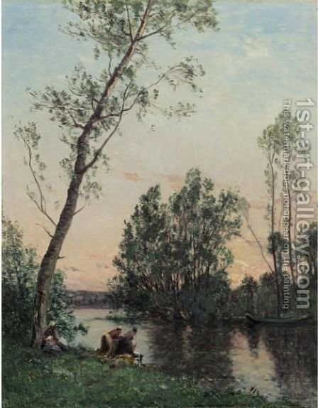 Sunset On The Banks Of The L'Oise by Hippolyte Camille Delpy - Reproduction Oil Painting