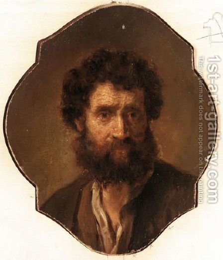 A Study Of A Head Of A Bearded Man by (after) Harmenszoon Van Rijn Rembrandt - Reproduction Oil Painting