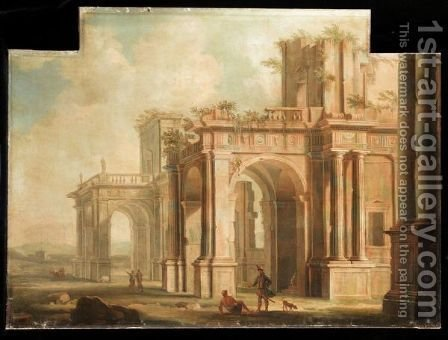An Architectural Capriccio With Figures Amongst Ruins by (after) Gennaro Greco, Il Mascacotta - Reproduction Oil Painting