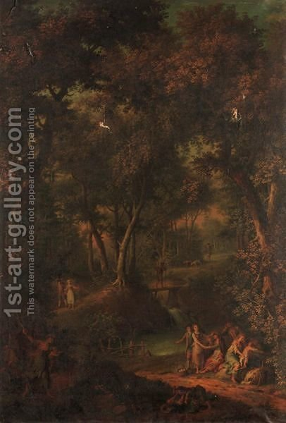 Wooded Landscape With Figures Resting Beside A River, And Children Fighting In The Foreground by (after) Hendrick Willem Schweickardt - Reproduction Oil Painting