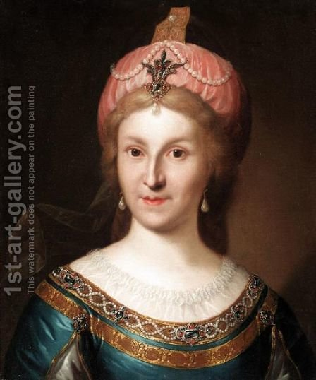 Portrait Of A Lady, Head And Shoulders, Wearing Russian Dress by (after) Pietro Antonio Rotari - Reproduction Oil Painting