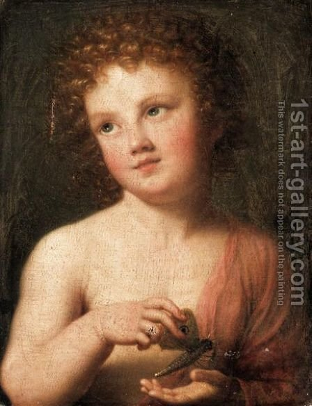 The Christ Child Holding A Butterfly by (after) Mengs, Anton Raphael - Reproduction Oil Painting