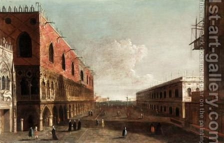 Venice, A View Of The Piazzetta Looking Towards The Bacino Di San Marco by (after) Michele Marieschi - Reproduction Oil Painting