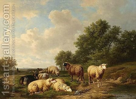 Sheep Resting In A Summer Landscape by Alexander Joseph Daiwaille - Reproduction Oil Painting