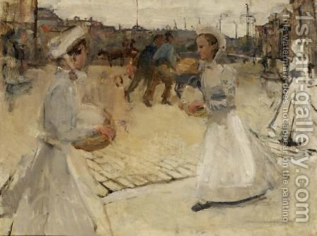 A'Meisjes Op De Munt A' (Servant Girls On The Muntplein, Amsterdam) by Isaac Israels - Reproduction Oil Painting