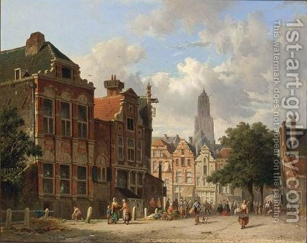 Many Figures On A Square In Utrecht by Adrianus Eversen - Reproduction Oil Painting