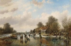 A Winter Landscape With Skaters On A Frozen Waterway